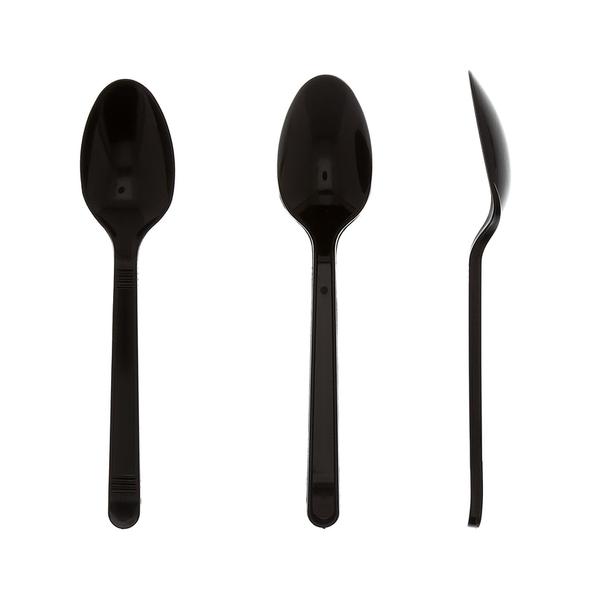 Black Polypropylene Teaspoon, Medium Heavy Weight, Three Teaspoons Side by Side