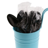 Black Polypropylene Teaspoon, Medium Heavy Weight, Individually Wrapped, Image of Cutlery In A Cup