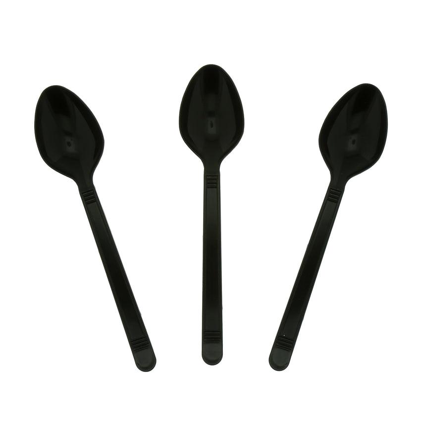 Black Polypropylene Teaspoon, Heavy Weight, Three Teaspoons Fanned Out