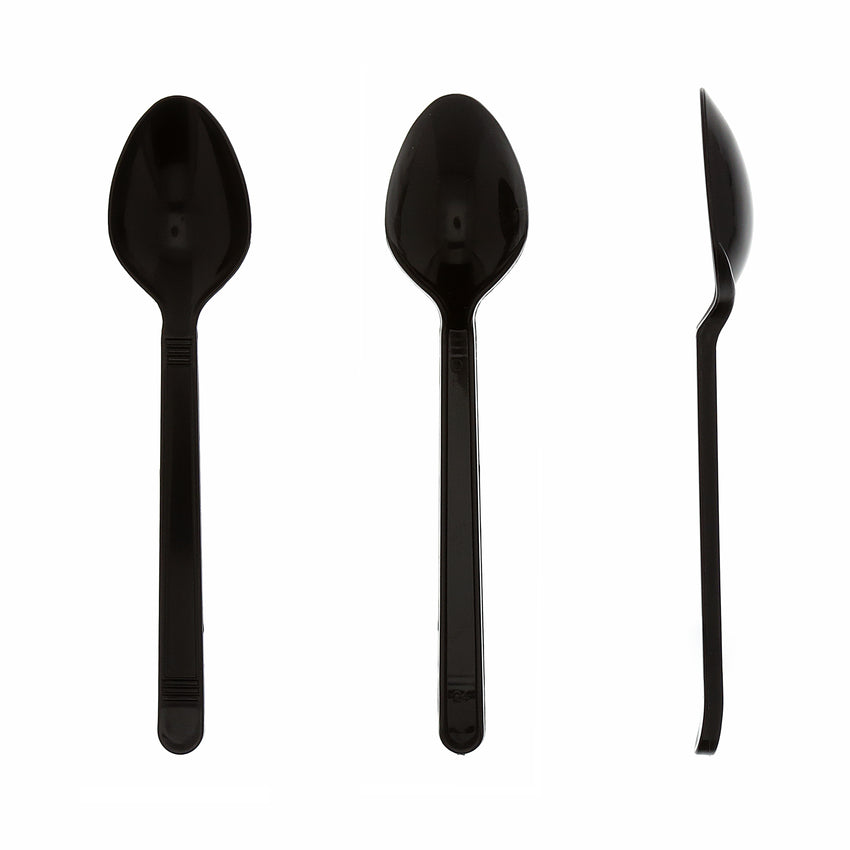 Black Polypropylene Teaspoon, Heavy Weight, Three Teaspoons Side by Side