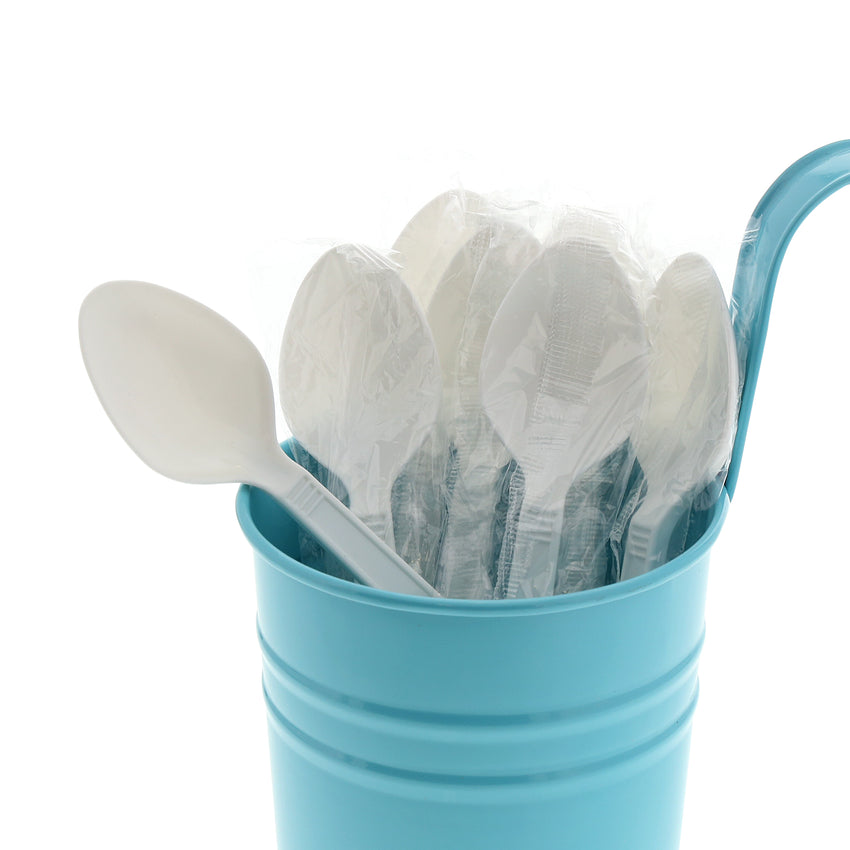 White Polypropylene Teaspoon, Heavy Weight, Individually Wrapped, Image of Cutlery In A Cup