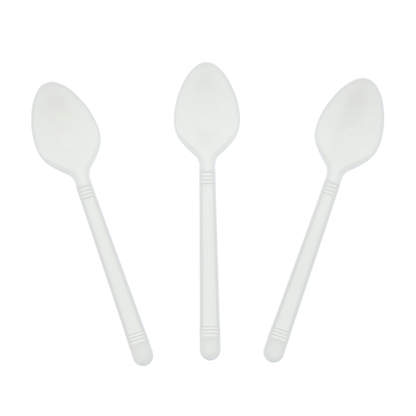 White Polypropylene Teaspoon, Heavy Weight, Three Teaspoons Fanned Out