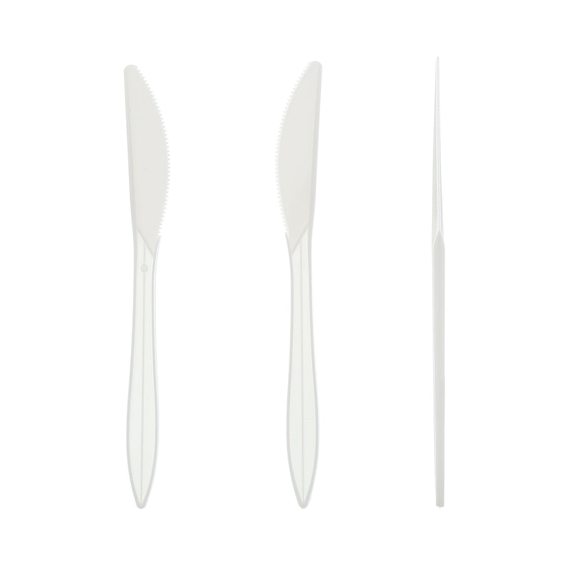 White Polypropylene Knife, Medium Weight, Three Knives Side by Side