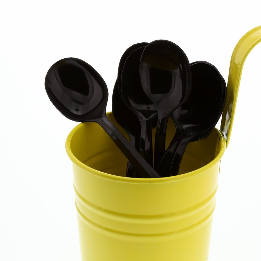Black Polypropylene Soup Spoon, Medium Weight, Image of Cutlery In A Cup