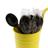 Black Polypropylene Soup Spoon, Medium Heavy Weight, Individually Wrapped, Image of Cutlery In A Cup