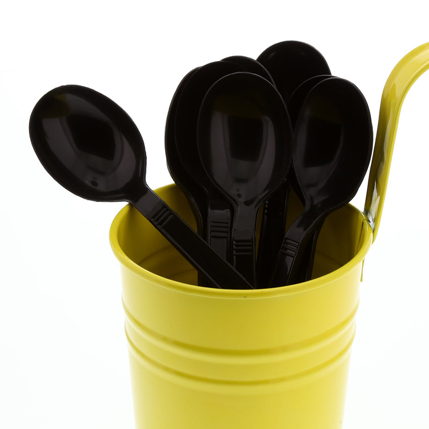 Black Polypropylene Soup Spoon, Heavy Weight, Image of Cutlery In A Cup