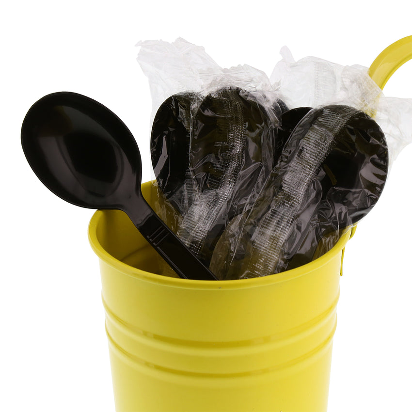 Black Polypropylene Soup Spoon, Heavy Weight, Individually Wrapped, Image of Cutlery In A Cup