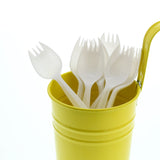 White Polypropylene Spork, Medium Weight, Image of Cutlery In A Cup