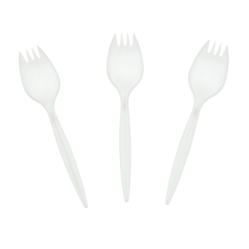 White Polypropylene Spork, Medium Weight, Three Sporks Fanned Out