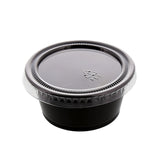 1.5 to 2 oz. Clear Polypropylene Portion Cup Lid, Lid On A Black Cup