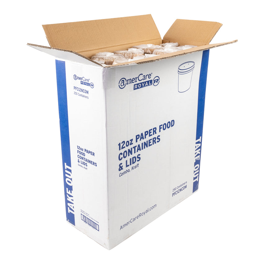 12 OZ KRAFT PAPER FOOD CONTAINER AND LID COMBO, open case