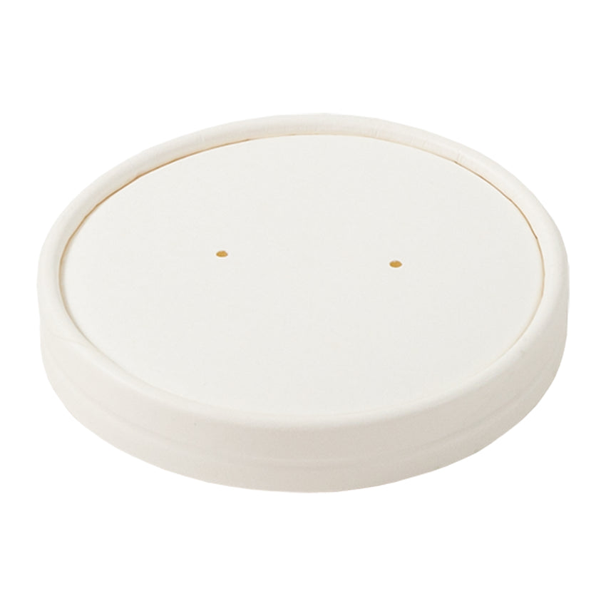 12 OZ WHITE PAPER FOOD CONTAINER AND LID COMBO, closed lid