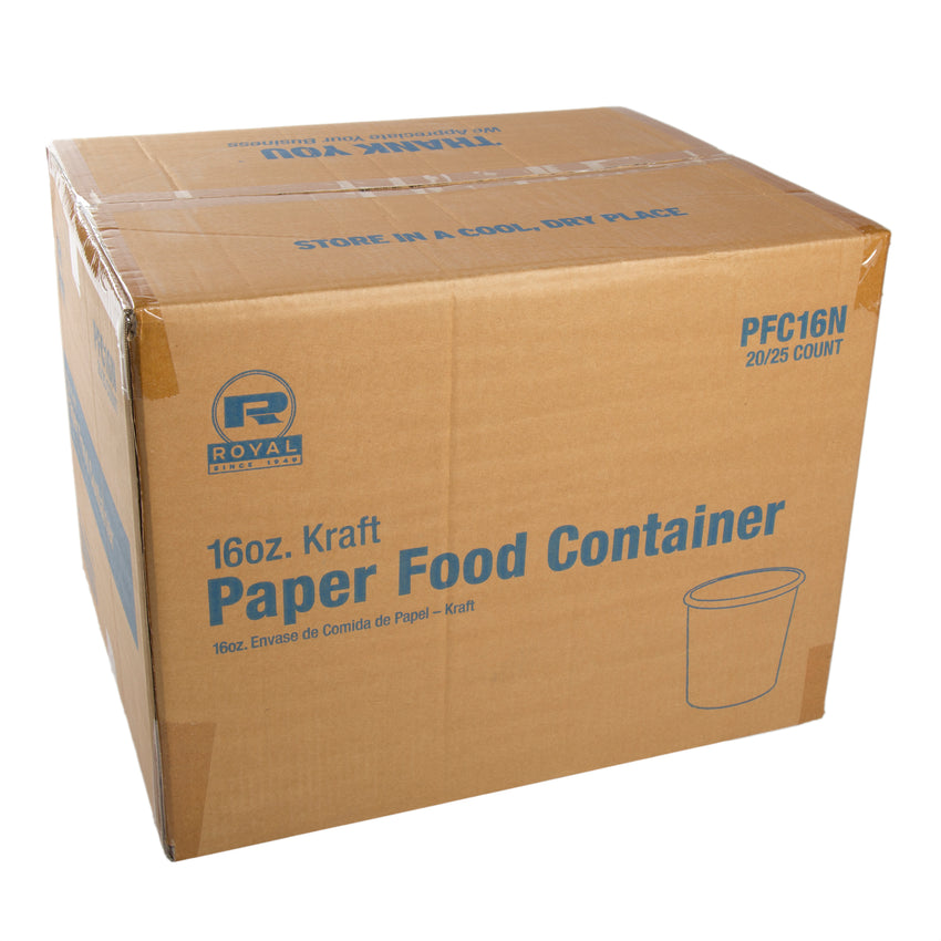 16 OZ KRAFT PAPER FOOD CONTAINER, case closed