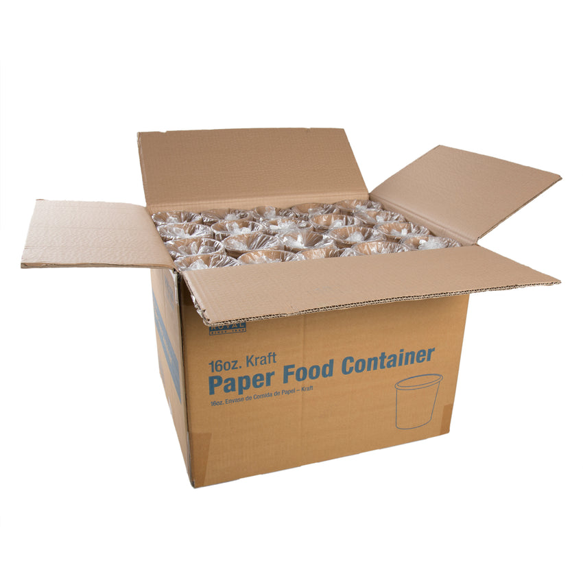 16 OZ KRAFT PAPER FOOD CONTAINER, open case