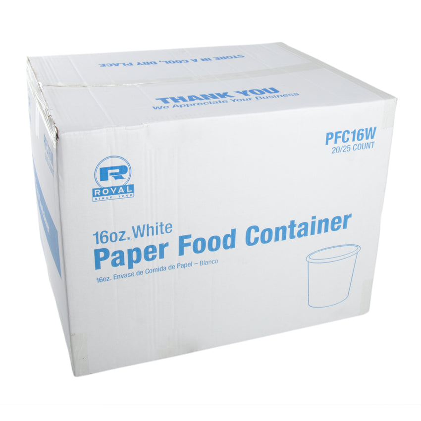 16 OZ WHITE PAPER FOOD CONTAINER, case closed
