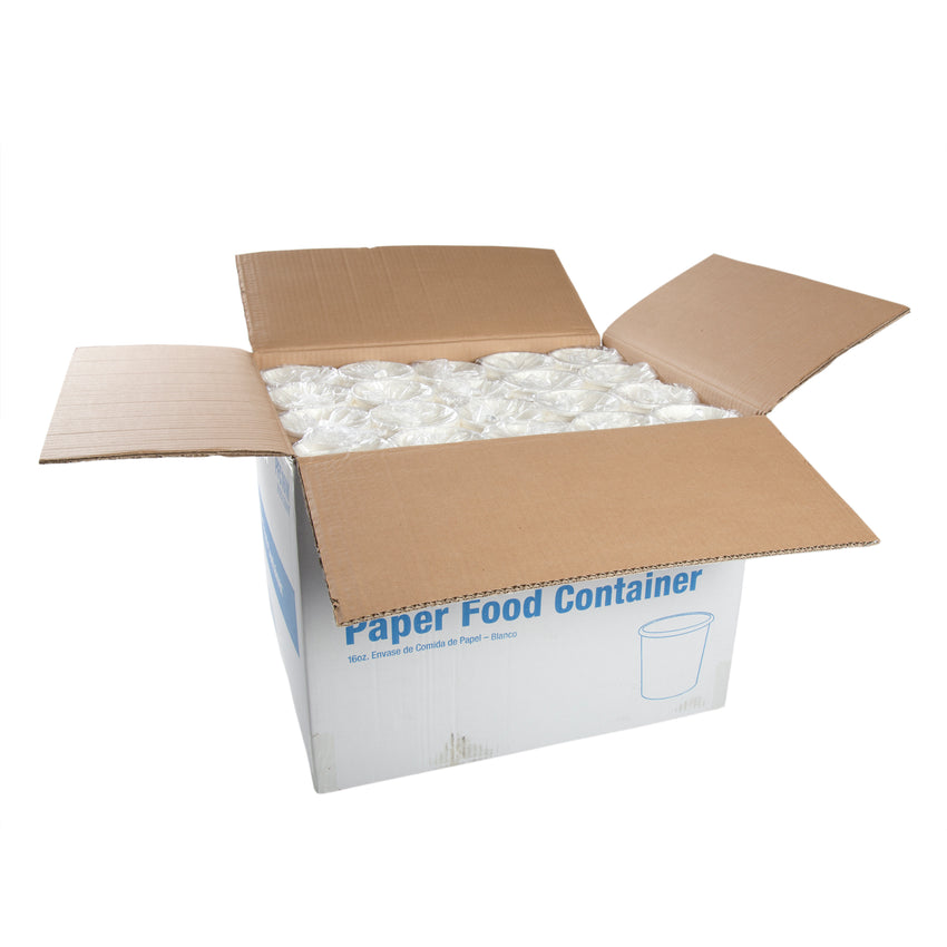 16 OZ WHITE PAPER FOOD CONTAINER, open case