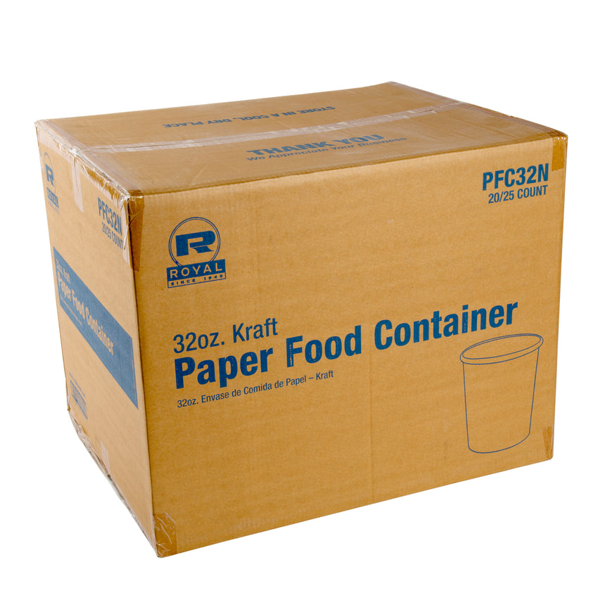 32 OZ KRAFT PAPER FOOD CONTAINER, case closed