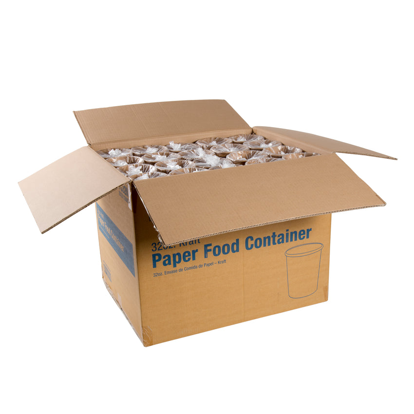 32 OZ KRAFT PAPER FOOD CONTAINER, case open