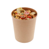 32 OZ KRAFT PAPER FOOD CONTAINER, with food