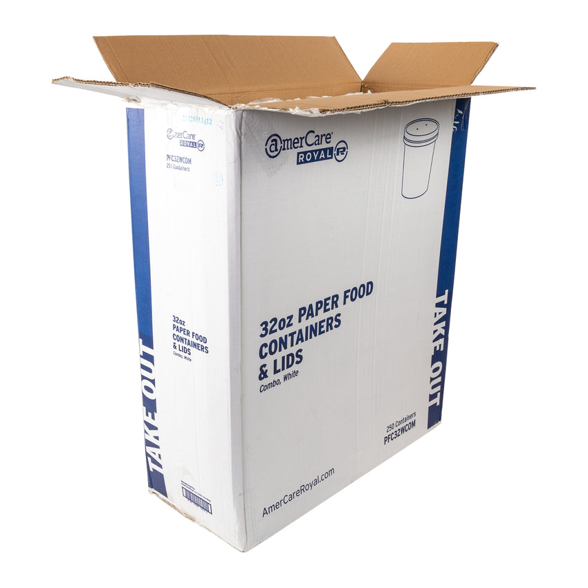 32 OZ WHITE PAPER FOOD CONTAINER AND LID COMBO, open case