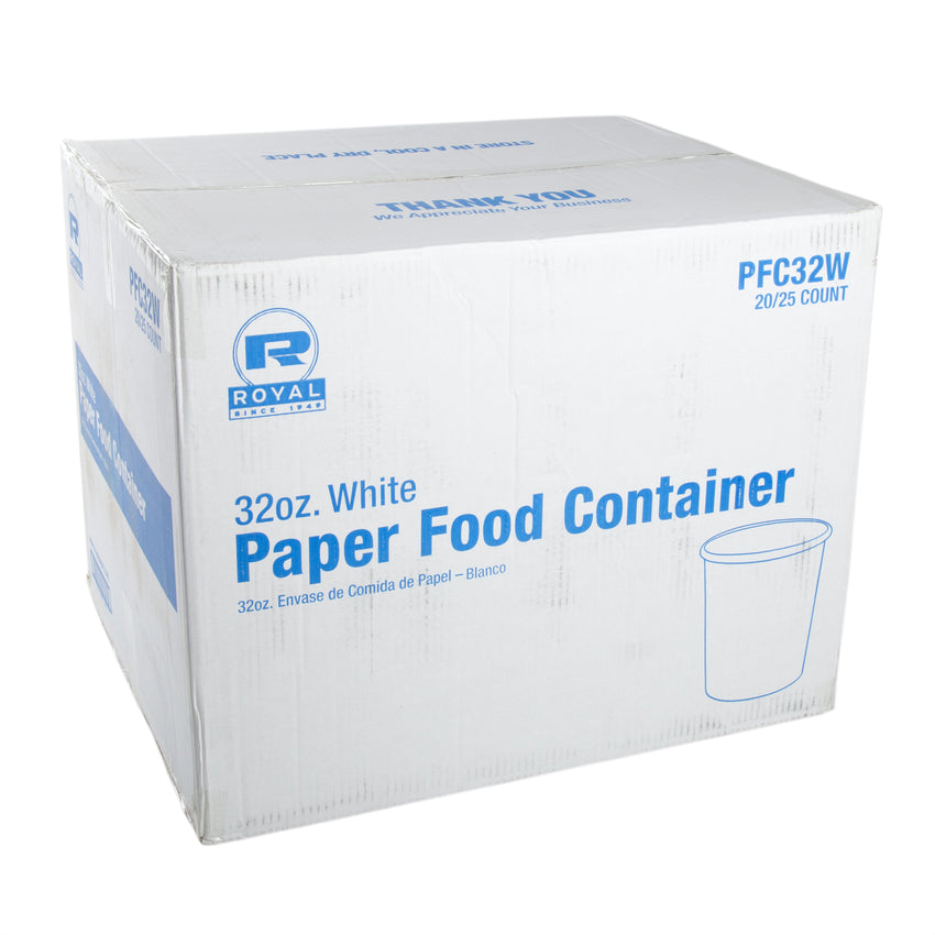 32 OZ WHITE PAPER FOOD CONTAINER, closed case