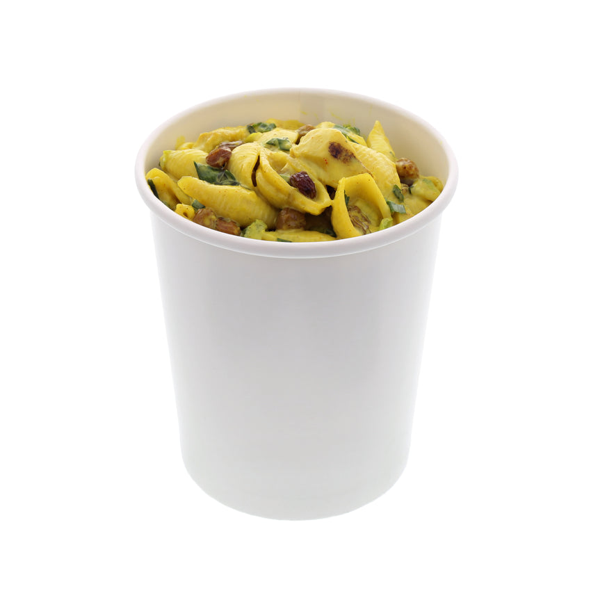 32 OZ WHITE PAPER FOOD CONTAINER, with food