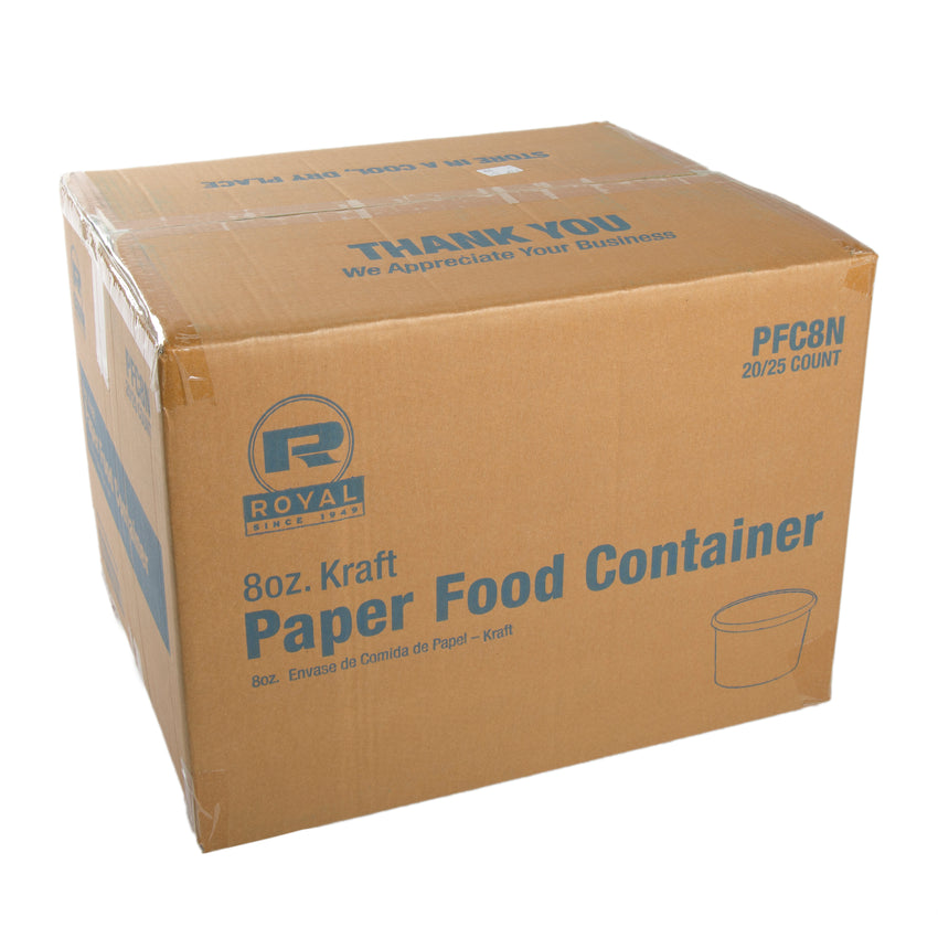 8 OZ KRAFT PAPER FOOD CONTAINER, closed case