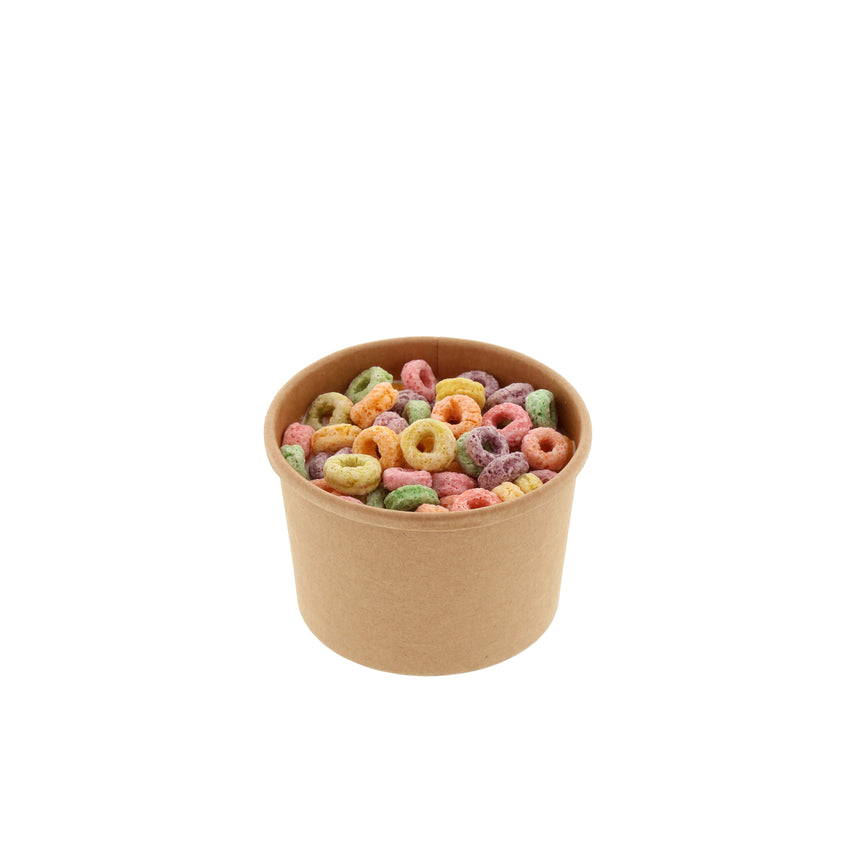 8 OZ KRAFT PAPER FOOD CONTAINER, with food