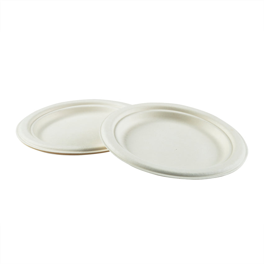 "7"" Round Plates, Multiple Plates Stacked With Overlapping Edge"