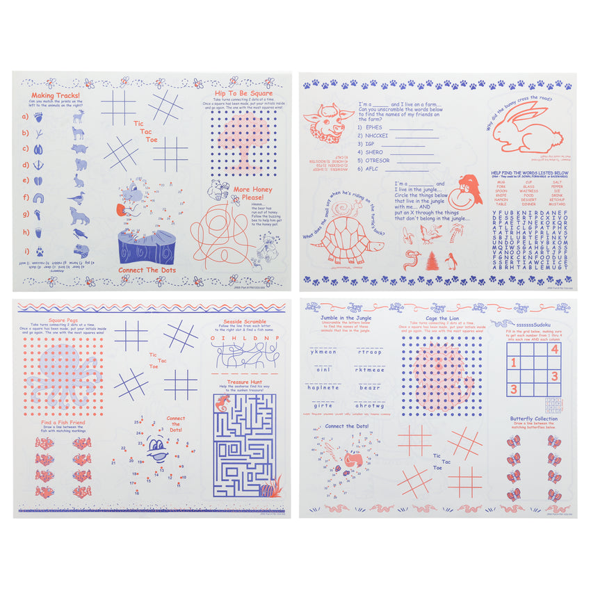 "14"" x 11"" Economy Activity Sheet, Mixed Theme, 4 Designs, Back View"