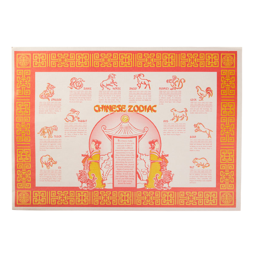 "10"" X 14"" CHINESE ZODIAC PLACEMAT STRAIGHT EDGE"