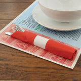 "FACTS ABOUT ITALY PLACEMAT 10"" X 14"" STRAIGHT EDGE, Placemat With Dinnerware and Utensils On Top"