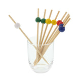 "4.75"" ASSORTED BAMBOO BALL PICK RED/BLUE/GREEN/YELLOW/WHITE"