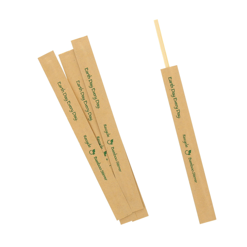 "7"" BAMBOO STIR STICK KRAFT PAPER WRAPPED, Group View"