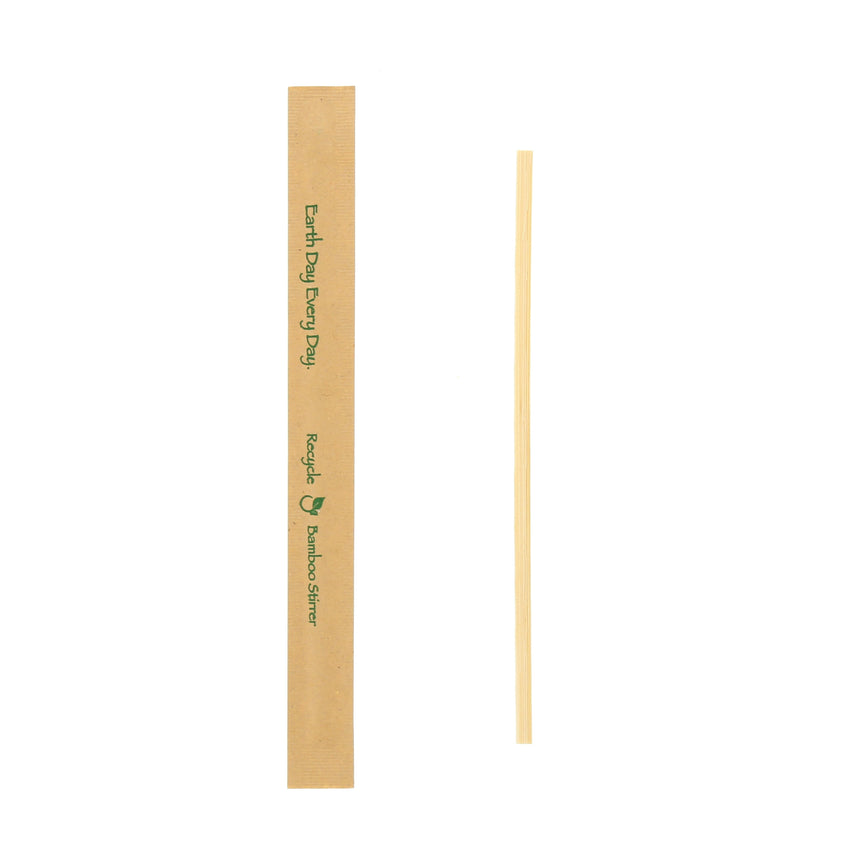 "7"" BAMBOO STIR STICK KRAFT PAPER WRAPPED"