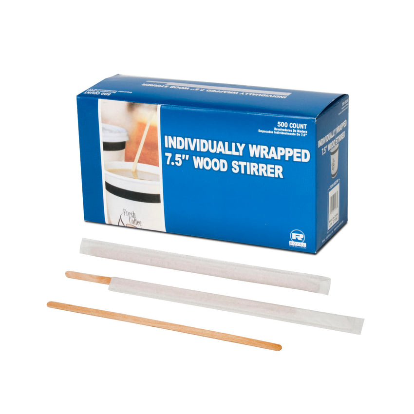 "7.5"" WOOD COFFEE STIRRERS INDIVIDUALLY WRAPPED, Closed Inner Box With Three Stirrers In Front"