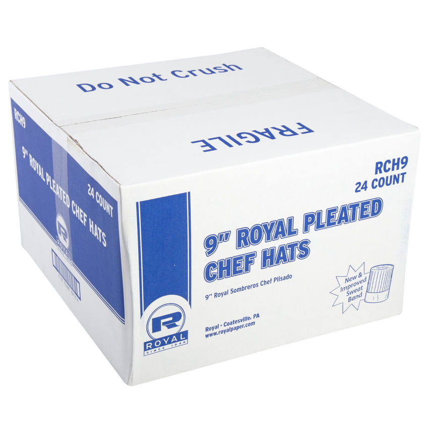 "ROYAL 9"" PLEATED CHEF HAT WITH COMFORT BAND, Closed Case"