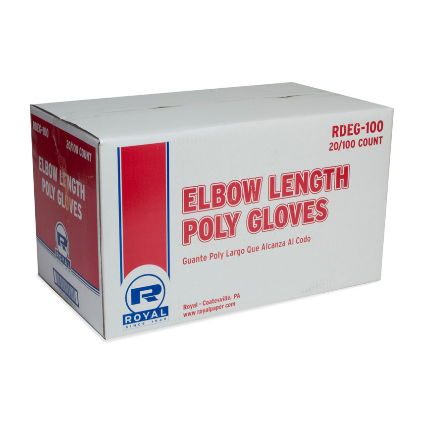 "ELBOW POLY GLOVES 21.5"", Closed Case"