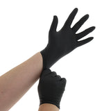 BLACK GENERAL PURPOSE POWDER FREE NITRILE GLOVES, Glove Pulled Onto Left Hand