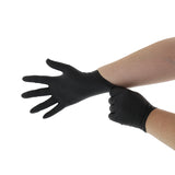BLACK GENERAL PURPOSE POWDER FREE NITRILE GLOVES, Glove Pulled Onto Right Hand