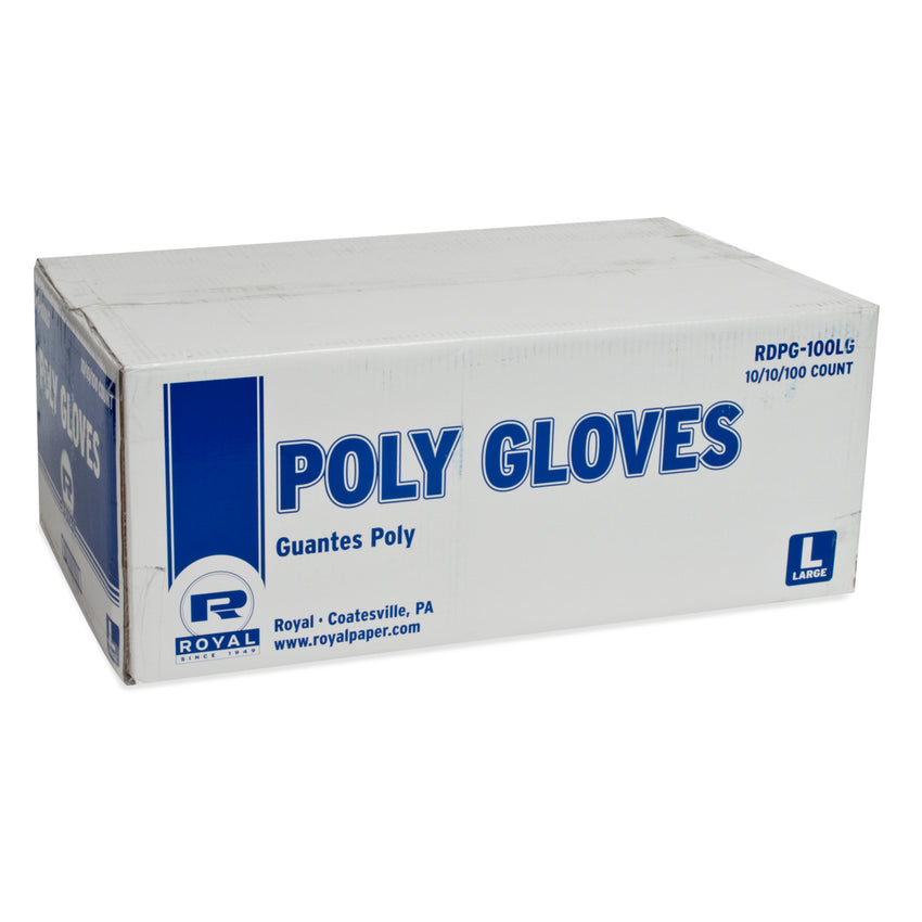 Poly Gloves Large Size, Case of 1000, Closed Case