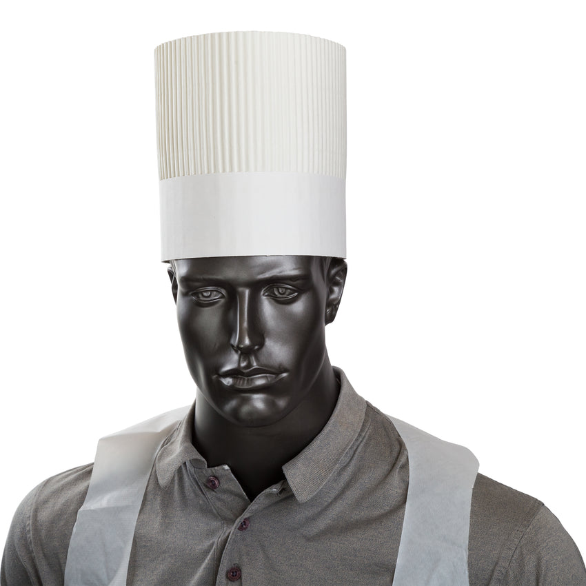 "7"" ROYAL CHEF HAT FLAT Pack, Hat On Mannequin"