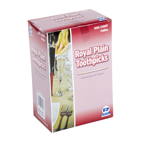 Package of 1000 Royal Plain Individual Cello Wrapped Toothpicks