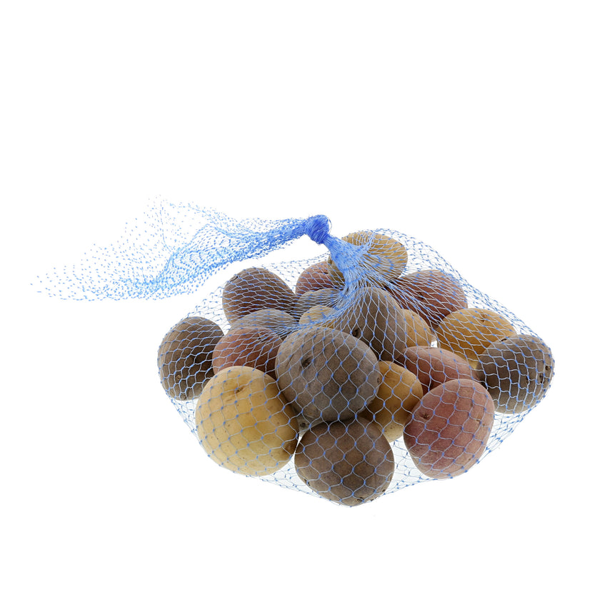 "PLASTIC MESH BAG BLUE 24"", Bag Filled With Potatoes With Hand Tied Knot"
