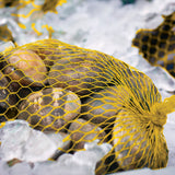 "PLASTIC MESH BAG YELLOW 24"", Bag Filled With Clams"