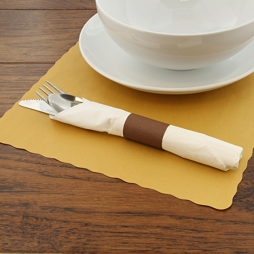 PAPER NAPKIN BAND BROWN, Napkin Band On Placemat Beside Tableware