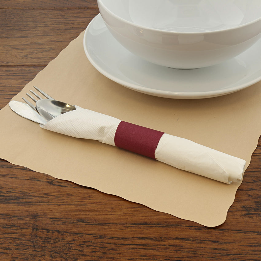 PAPER NAPKIN BAND BURGUNDY, Napkin Band On Placemat Beside Tableware