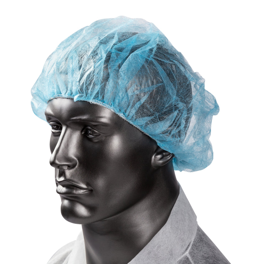 "24"" BLUE O.R. CAP LATEX FREE, On Mannequin View"
