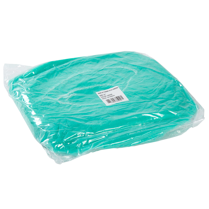 "21"" GREEN O.R. CAP LATEX FREE, Plastic Wrapped Inner Package"