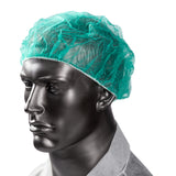 "21"" GREEN O.R. CAP LATEX FREE, On Mannequin View"